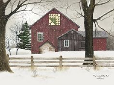 Pine Tree Quilt Block Barn by artist Billy Jacobs