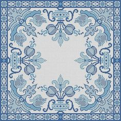 Antique Pillow Square Blue Motif Counted Cross Stitch Pattern PDF