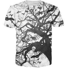 Bat Branches T-Shirt (9.775 HUF) ❤ liked on Polyvore featuring tops, t-shirts, all over print t shirt and all over print tees