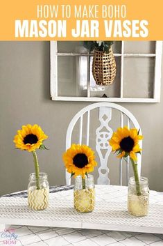 Make beautiful DIY mason jar flower vases with a super fun artistic look. They make a great addition to your home decor, and would look great on a kitchen table, buffet table, or on a mantel. #Kenarry #IdeasForTheHome