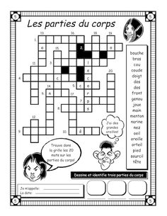 Les parties du corps - parts of the body in french crossword worksheet French Language Lessons, Spanish Language Learning, French Lessons, French Teaching Resources, Teaching French, How To Speak French, Learn French, French Body Parts, French Worksheets