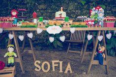 Chapeuzinho vermelho - festa no jardim botânico - mesa principal