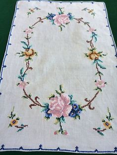 vintage embroidered cotton table runner tray cloth by Retroom