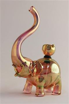 Elephant Glass Bubbler, gold