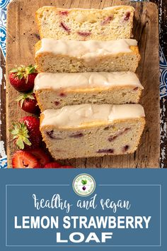 This Lemon Strawberry Loaf is made with fresh strawberries and is super easy to make. It's a moist and incredibly flavourful afternoon snack or dessert and it's vegan! Delicious Vegan Recipes, Delicious Desserts, Dessert Recipes, Tasty, Cranberry Oatmeal Muffins, Blueberry Oatmeal, Organic Baking Soda, Strawberry Slice, Loaf Recipes