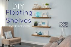 Fill an entire wall with rustic slabs to add a bit of extra warmth to cool-toned room. Get the tutorial at Tiny Sidekick » - GoodHousekeeping.com