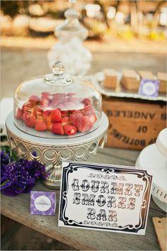 Gourmet s'mores bar. REALLY cute wedding reception!