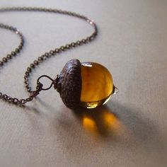 Glass Acorn Necklace in Streaky Transparent Topaz by bullseyebeads, $28.00