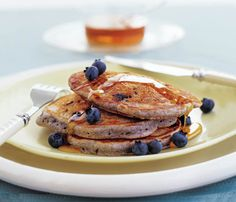 Blue Cornmeal Griddle Cakes - Skinny Pancakes for Your Mother's Day Brunch #SELFmagazine