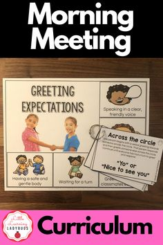 Strengthen your classroom community, help students solve problems, strengthen social skills, and build trust with morning meetings. This class meeting product bridges together aspects of general education, speech, and language to provide teachers with a ready to use year-long classroom meeting curriculum. Lessons, visual expectations, and rings cards for greeting, sharing, activity, and message. #morningmeeting #classmeeting #communitycircle Calm Classroom, Classroom Meeting, Classroom Behavior, Classroom Management, Class Meetings, Morning Meetings, First Grade Teachers, First Grade Classroom, Kids Educational Crafts