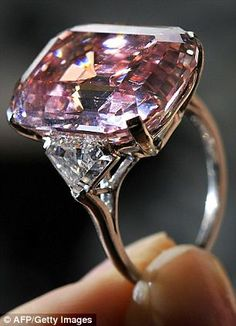 Rare pink diamond is sold for world record 29m - Jewel in the crown: The 24.78 carat fancy intense pink diamond, mounted as a ring