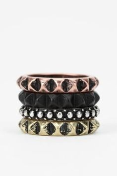 #Urban Outfitters         #ring                     #Studded #Ring            Studded Ring - Set of 4                             http://www.seapai.com/product.aspx?PID=1631340