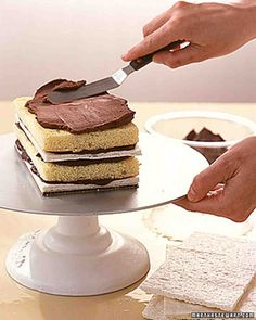 This recipe is used to make the genoise layer for the Almond Dacquoise Cake or Raspberry Mousse Cakes with Flowering Maple Blossoms. The layer of genoise and a layer of dacquoise are iced together with whipped ganache to form a neat loaf shape. Genoise Recipe, Genoise Cake, Ganache Recipe, Whipped Chocolate Ganache, Chocolate Frosting, Raspberry Mousse Cake, Little Cakes, Cake Recipes, Cooking