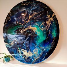 "Beautiful earth inspired Northern lights colors on a large 48"" wood panel #resinart #earth #homedecor #modernart #gloss #resin #artist #canadianartist #bluepaint #largewallart #roundart Modern Art, Custom Artwork, Canadian Artists, Resin Painting, Blue Paint, Artwork, Abstract, Round Art, Large Wall Art"