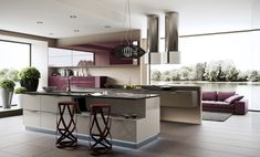Kitchen:Breathtaking Purple Kitchen Unit With Unique Kitchen Bar Stools With Kitchen Table With Storage And Pendant Light Also Purple Kitchen Cabinets And Plants Into Pots Also Purple Living Sofa 26 Awesome Kitchen Design Ideas To Inspire You Kitchen Furniture, Kitchen Interior, Kitchen Decor, Contemporary Kitchen Design, Contemporary Decor, Suspension Bar, Purple Kitchen, Interior Design Photos, Kitchen Units