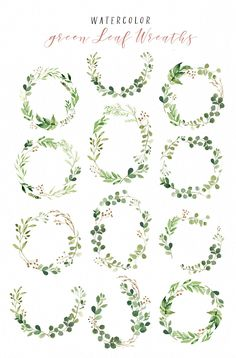 Watercolor Green Leaf Clip Art by Graphic Box on Creative Market This is a simple,elegance leaves collection,soft green with some pink.It is perfect for wedding stationery,branding,logo and more.Just enjoy and have fun! Wreath Watercolor, Watercolor Flowers, Watercolor Paintings, Green Watercolor, Watercolors, Watercolor Ideas, Vintage Clip Art, Logo Vintage, Green Leaves