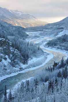 As the winter solstice approaches, a sleepy sun rises just above the horizon at Denali National Park in Alaska. Periwinkle connects sunrise to sunset as wistful light spills into the Nenana River canyon. Photo by National Park Service.