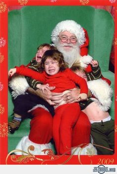 """The great escape. I love the look on Santa's face! He's like """"oh no you don't, we're getting this sh*t done!"""""""