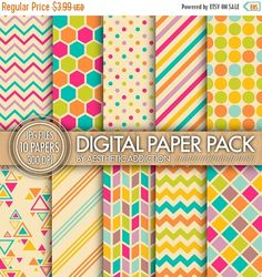 75 % Rabatt geometrische digitalem Papier - sofort-Download - Collage Sheet - bedruckbare Papier - 10 hochaufl digitaler Muster - 300 DPI - C009