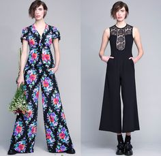 Nanette Lepore 2016 Pre Fall Autumn Womens Lookbook Presentation - Farmer Flowers Floral Botanical Print Graphic Motif Dress Onesie Jumpsuit Coveralls Jacket Blazer Blouse Wide Leg Trousers Palazzo Pants Tunic Sheer Chiffon Lace Cutout Cold Open Shoulders Ornamental Decorative Art Sleeveless