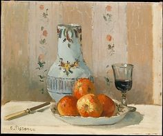 Still Life with Apples and Pitcher - 1872,  Camille Pissarro