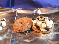 Chocolate Chip Cookie S'mores.  These are so good and you can do them on the grill when you are having a picnic.  Each person can make their own.