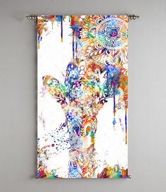 giraffe print giraffe art mandala tapestry by ThestoryoftheFall