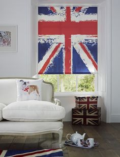 Apollo Blinds digi printing service allows you to print any high res image onto a window blind. Best of British interiors. Rule Britannia