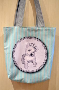 Westie puppy tote bag West highland shopping bag by MimoCadeaux, $43.00