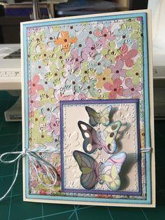 Aqua card on cream cardstock, paper (Kioshi) & purple card with butterflies (Kioshi) Purple Cards, Seasonal Flowers, Butterflies, Card Stock, Aqua, Seasons, Cream, Paper, Decor