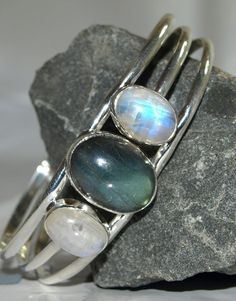 Labradorite and moonstone sterling silver bangle