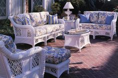 The Carlyle white Patio furniture group by South Sea Rattan.