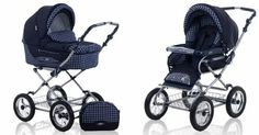 Amazon.com: $498.00  Roan Kortina Classic Pram Stroller 2-in-1 with Bassinet and Seat - 5 (Five) Colors - Navy - Chequered: Baby