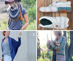 Free modern, trendy crochet patterns from Make and Do Crew including a sweater, cardigan, slippers and a crochet top.