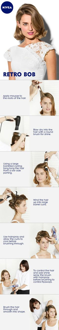"""This is how you make the elegant """"Retro Bob""""! Casual Hairstyles, Retro Hairstyles, Easy Hairstyles, Hairstyle Ideas, Pixie Styles, Short Hair Styles, Retro Bob, Double French Braids, Large Curls"""