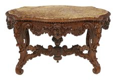 American Rococo Revival Walnut and Marble-Top Center Table American Walnut, Center Table, Marble Top, Rococo, New Orleans, Auction, Wood, Galleries, Furniture