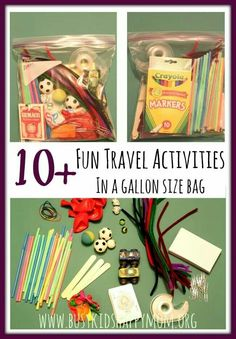 10 Travel Activities For Kids – Busy Kids Happy Mom Gather these simple materials together. Now you're always prepared for home, travel, grandparents, etc. No searching. activities for FUN! Road Trip Activities, Road Trip Games, Toddler Activities, Toddler Games, Toddler Travel, Travel With Kids, Fun Travel, Travel Tips, Travel Snacks