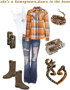 """""""Orange Down to the Bone"""" minus the boots belt and phone case lol--dani Country Girl Outfits, Country Girl Style, Country Fashion, Cowgirl Outfits, Cowgirl Style, Western Outfits, Country Girls, My Style, Country Life"""