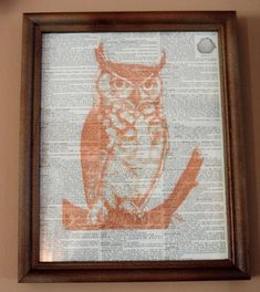 Perfect for Halloween or your everyday decor this framed dictionary page features an antique orange owl image. Cottage Style Decor, Shabby Chic Decor, Vintage Owl, Vintage Decor, Book Pages, Orange, Painting On Wood, Halloween Decorations, Fall Decor