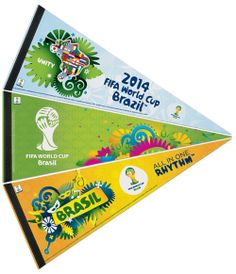 COMBO: World Cup Brazil 2014 Official Premium Felt Pennant Set (Three Designs) ~available at www.sportsposterwarehouse.com
