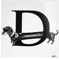 Rory Dobner 'Diamond Dog Letter D' Tile