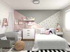 Shared room of super cute Maanuh Scotá and baby Alice., Shared room of super cute Maanuh Scotá and baby Alice. Baby Room Design, Girl Bedroom Designs, Baby Room Decor, Girls Bedroom, Girls Room Paint, Room Baby, Bedroom Wall, Bedroom Decor, Cozy Bedroom