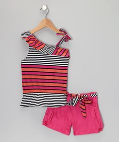 Take a look at this Pink & Black Stripe Asymmetrical Tank & Shorts - Toddler & Girls on zulily today!