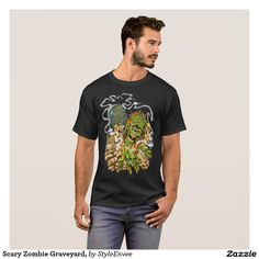 Scary Zombie Graveyard, T-Shirt Are you a zombie fan, show it with this cool funny Scary Zombie Graveyard, Men's T-shirt. You can almost smell the odors wafting upwards from the corpses grave.
