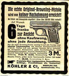 Original-Werbung/ Anzeige 1902 - BROWNING PISTOLE / KÖHLER - BRESLAU - Ca. 80 X 90 Mm - Werbung
