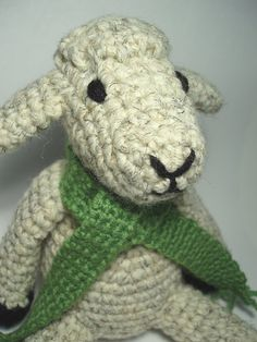 Crocheted Sheep Stuffed Animal Toy with a Green by NicolesCritters, $32.00