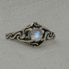 Blue moonstone Celtic ring