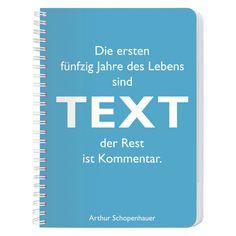 home24.de Notizblock DIN A6 Schopenhauer Text - Kunststoff Hellblau