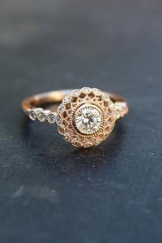 Engagement Ring That Was Created For A Special Bride ❤️ engagement ring rose gold art deco halo diamond round cut ❤️ See more: http://www.weddingforward.com/engagement-ring/ #wedding #bride