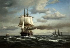 "Painting of the danish frigate ""Jylland"" a ship from the war of 1864 and was part of the only battle won by Denmark in that war."
